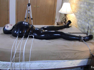 Her lover's come back by squashing herself into her tightest spandex catsuit