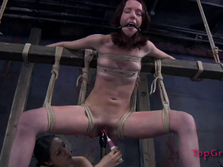 Tight bondage, strappado, spanking and torture for naked girl