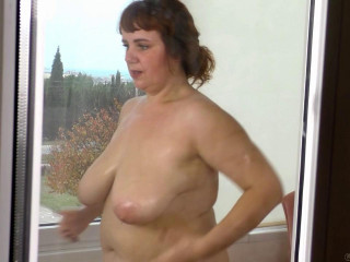 huge boob milf katrin cleaning house