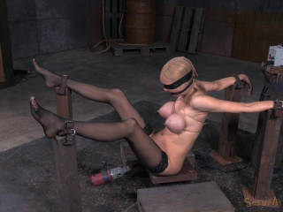 Giant boobed blonde Rain DeGrey belted down on banging machine with spitting deep-throat on BBC!