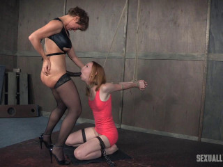 Katy Smooch the stunning tall redhead, is severely bound, deepthroated and savagely boned into darkness