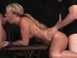 Bubbly light-haired Madelyn Monroe bound doggy-style and taken from both finishes by big dick!