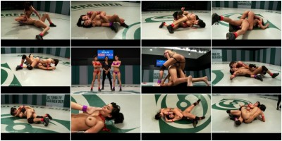2 hot wrestlers battle in the featherweight division! - Veteran destroys Rookie, fucks her up hard! (watch, dom, new)!