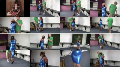 Crystal Frost - Secretary in a blue latex dress, collared, leashed and trained