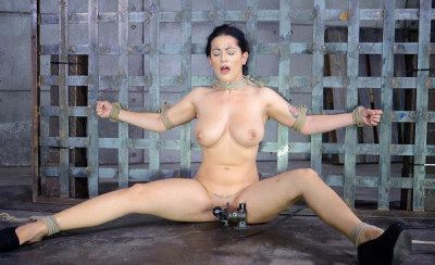 Katrina Jade with natural DDD breasts in bondage