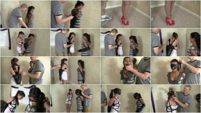 Drea Morgan and Elizabeth Andrews - Leather Strap Hogtied Duo