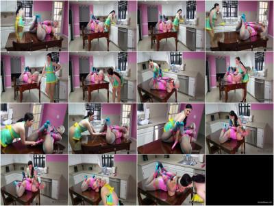 Sandra Silvers & Caroline Pierce - Latex Maid Overpowers, Hogties