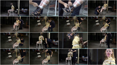 Huge Gags, Drool, and a Reverse Prayer Hogtie for Moxie - Scene 2 - HD 720p