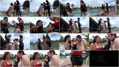 Cybill Troy & Elena De Luca — Slapping The Lazy Poolboy