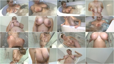 Washes tits in the shower pregnant