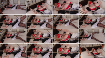 Bound and Gagged - French Maid Bound SpreadEagle for Vibrator Orgasms