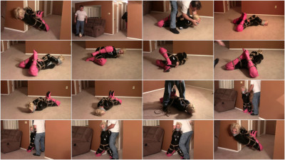 Tight bondage, strappado and hogtie for young girl in latex