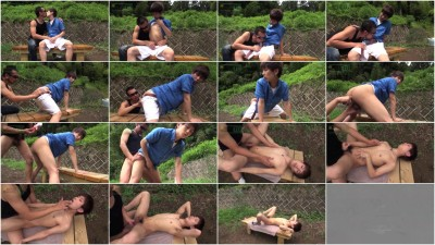 Yuma having sex on a park bench shooting a huge load