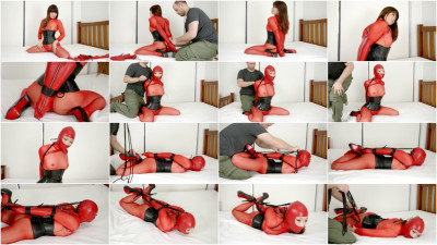 Slave Bound In Red Latex
