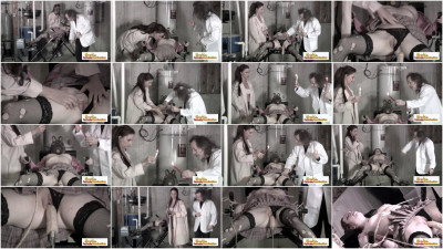 Horny doctors taking care of a long brunette babe