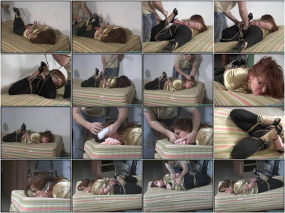 Busty redhead in glasses Gagged 4X and Frogtied Tight! - Part 3