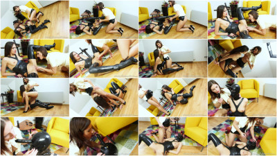Rubber Mistress And Slave - Pussy Licking Part 2 - Jennifer & Miky - Full HD 1080p