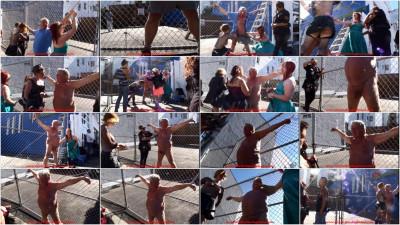 Folsom Street Fair - Chain Link Fence Publick Ball Busting CBT