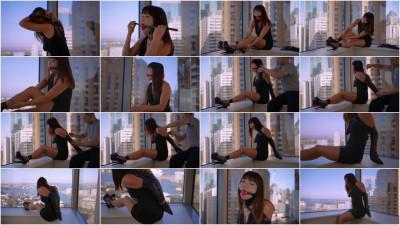 Windowsill Elegance (new, heels, leather, gag, video)