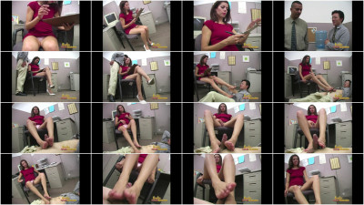 Brunette Office Worker Gives Her Colleague A Slow Footjob