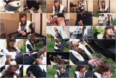 Emiri seo masturbated with a toy then sucking cock outdoors