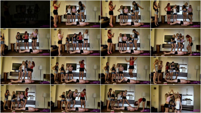 5 Girl Trample Party On A Fat Loser
