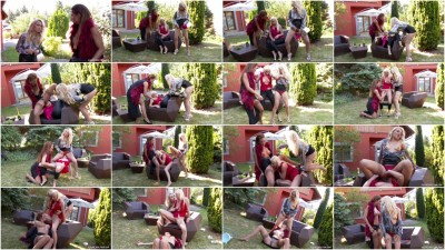 Lesbian Pissing Threesome! - high heels, two, wild...