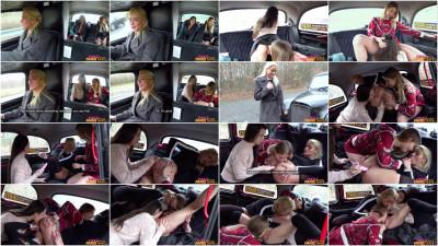 Anna Di, Cherry Kiss, Hayli Sanders — Lesbian taxi threesome wild orgasms 1080p