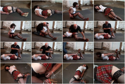 Hunterslair - Coed Painfully Bound And Hogtied With Brutal Zipties