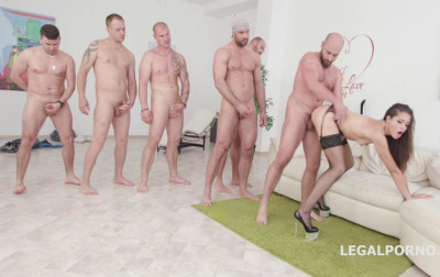 7on1 gangbang party for petite babe with hard double anal