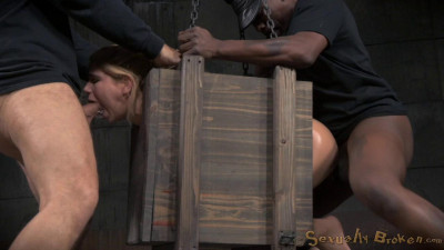 Little Alina West blindfolded bound in a box