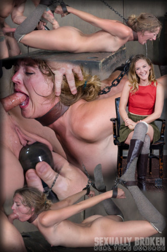 Skinny blonde is hogtied and face fucked, deepthroated and vibrated to several squirting orgasms!
