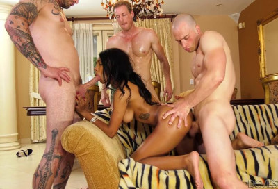 Interracial orgy with black babe