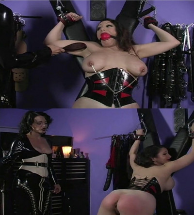 Hard bondage, spanking and torture for hot bitch in latex part 2