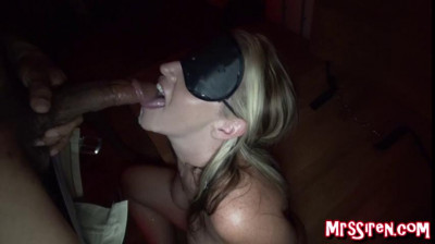 big tit mature slut in mask blowing dicks in dark