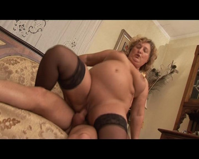 Horny fatty gets a cock