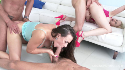 Angel Wicky & Mea Melone lick & toy each others ass to prepare