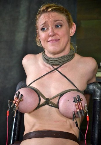 Brutal shock torture for tits