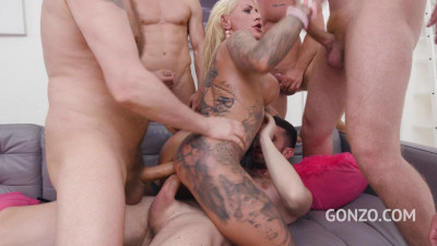 8on1 double anal gangbang for tattooed milf