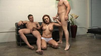 Hot slut loves jerking of cocks in bathroom