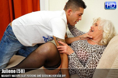 Lustful old woman and a young stud