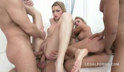 Hot babes Olivia Devine & Kerry Miller gangbanged by 3 guys with DP