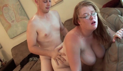 Chubby Young Redhead With Great Tits & Glasses Fucks Her Lucky BF
