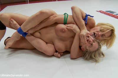 Two gorgeous Blonds go tit to tit in extreme competitive wrestling