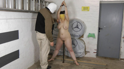 Bondage and torture for shaved pussy