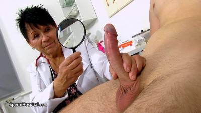 Big breasted doctor granny Elma prostate check-up