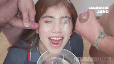 18 y.o. babe Marina Gold loves bukkake