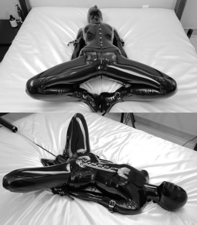 Tight bondage, domination and torture for sexy girl in latex