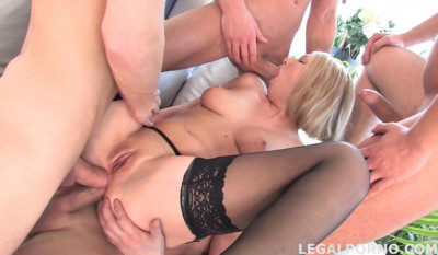 Hot russian babe gangbanged by many huge dicks with DP