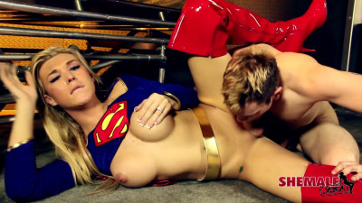 Shemale Aubrey Kate Supergirl Rescues Aaron!